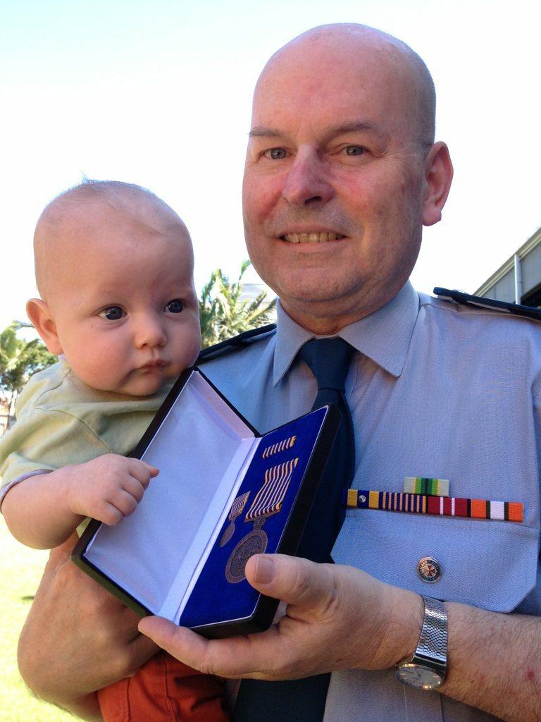 David Hartshorn with his grandson Miles Dorman.