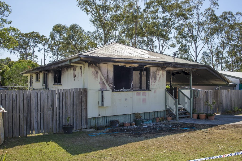 A burnt out house on Alder Street, Gladstone, is the victim of a suspected arson attack.