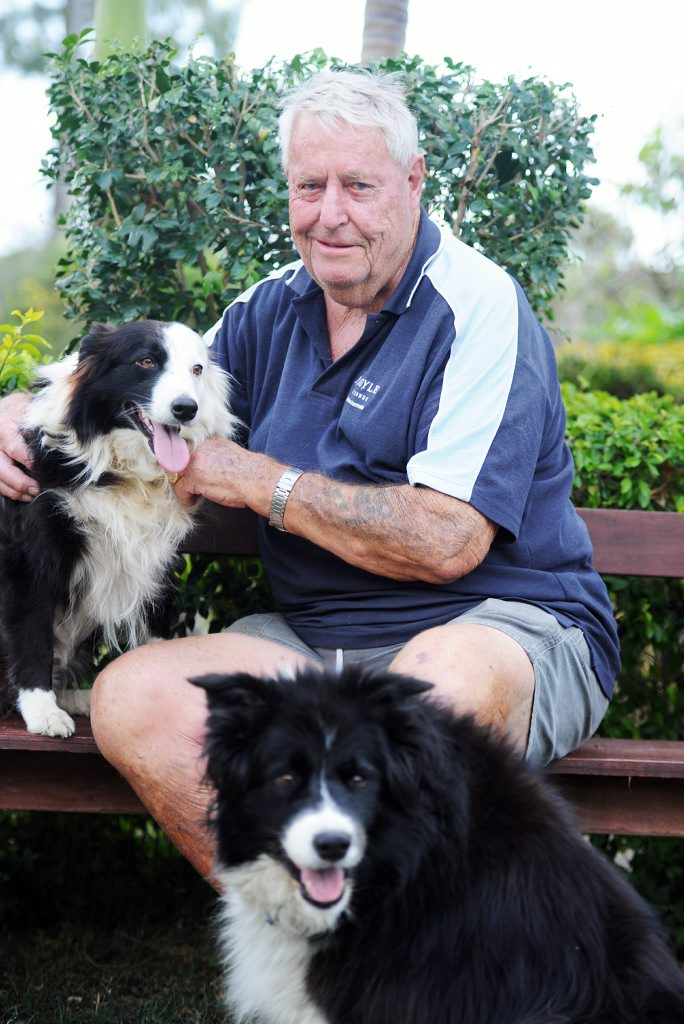 Bill Simeon with his dogs Gypsy (left) and Kelly.