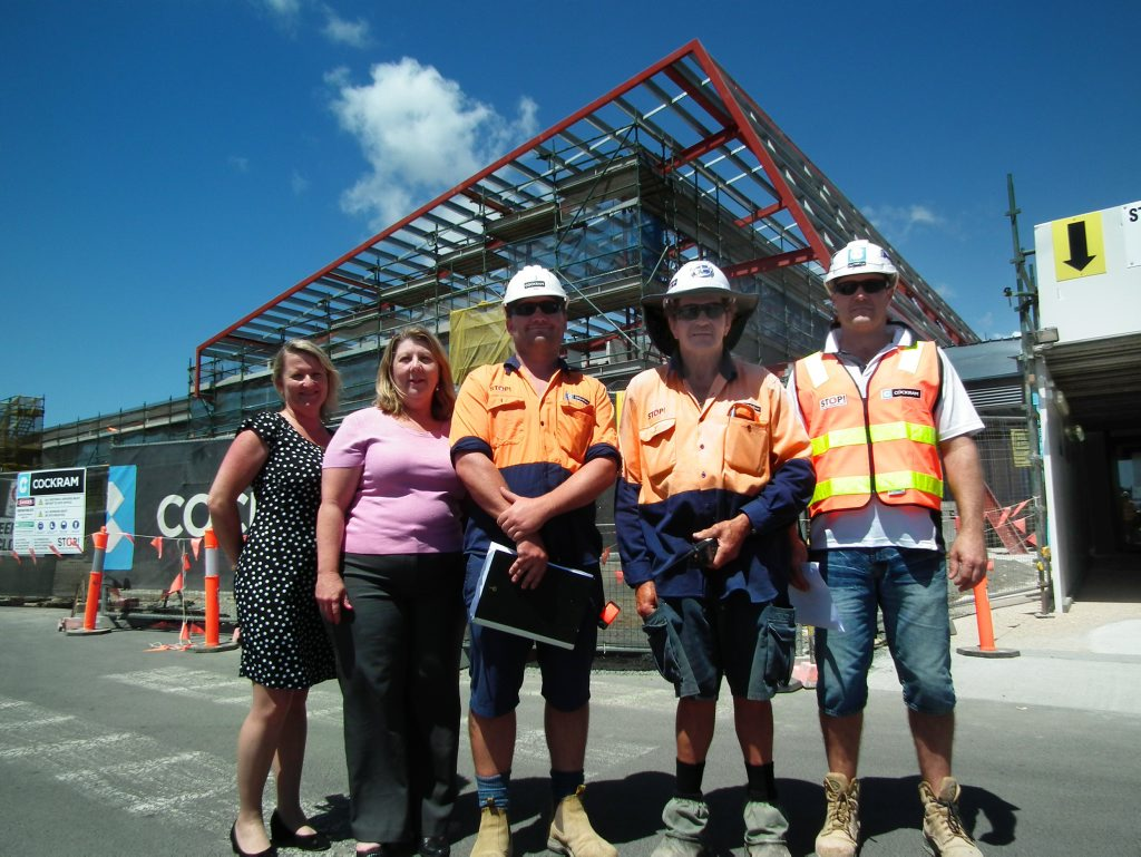 Representatives from the St Stephen's Hospital contruction team and management at the Nissen St site.