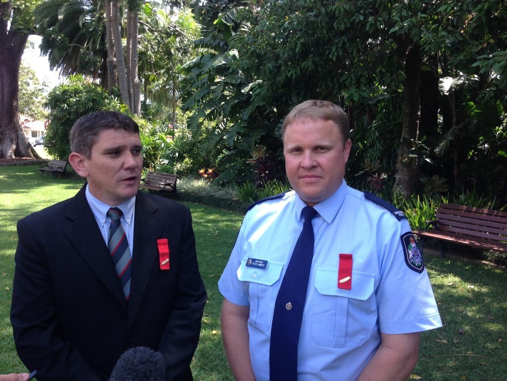Queensland police officers Senior Constable Steven Williamson (left) and Constable Peter Lambert were awarded a commendation for bravery for saving a woman in East Ipswich during the 2011 flood disaster.