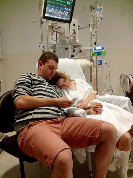 Byron High year 12 student Kaitlyn Hardy pictured with her father, Jason. Her first words after awaking, in the intensive care unit at Sydney's Royal North Shore Hospital, from a four-day coma following a car crash on Bangalow Road were