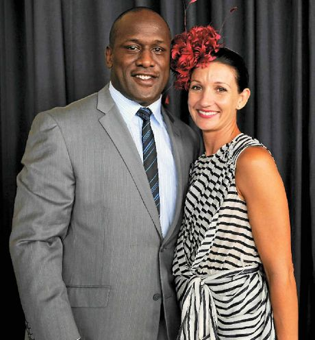 LIFE STORY: Wendell Sailor and wife Tara during Golden Slipper Day at Rosehill Gardens, Sydney, in 2010. COVER PHOTOS: Wendell at Cutters training and as a toddler.