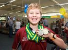 CONGRATULATIONS: Macson Cottle with his recently won gold medal in 50m Australian breaststroke.