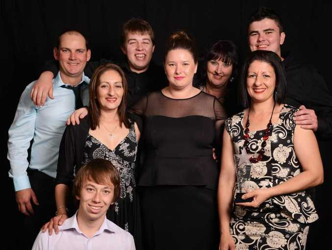 The team from Farmer Lou's South Grafton, which took out the people's choice award, with The Daily Examiner deputy editor Shannon Newley. Photo Pixie Bella / Contributed NO RESALE