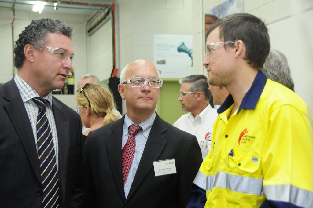 Education and Training Minister John-Paul Langbroek was in Gladstone on Tuesday to launch a new LNG operator training centre. He's pictured with Southern Alberta Institute of Technology's Dr Gordon Nixon and trainee James Masters.
