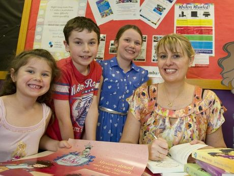 Tammy, Rylan and Bonnie Wilson meet children's author Jacqueline Harvey at the Toowoomba City Library.