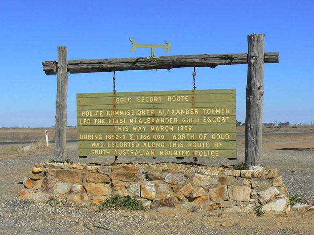 One of many signs and markers along the route of the Gold Escorts from Mt Alexander, near Bendigo, to Adelaide.