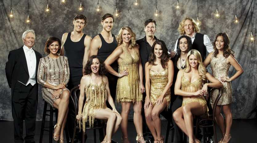 The 2013 cast of Dancing With The Stars. Guys, from left, Tony Barber, Jordan and Zac Stenmark, Brendan Jones, Cosentino (seated) and Steve Hooker. Ladies, from left, Sally Obermeder, Tina Arena, Libby Trickett, Rhiannon Fish, Jesinta Campbell and Sophia Pou.
