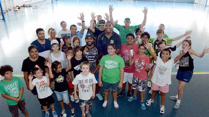SPORTS VIPs: Preston Campbell and Petero Civoniceva played football with local children at the Goonellabah Sport and Recreation Centre.