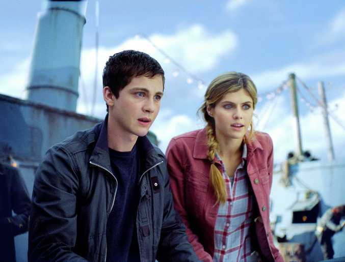 Logan Lerman and Alexandra Daddario in a scene from the movie Percy Jackson: Sea of Monsters.
