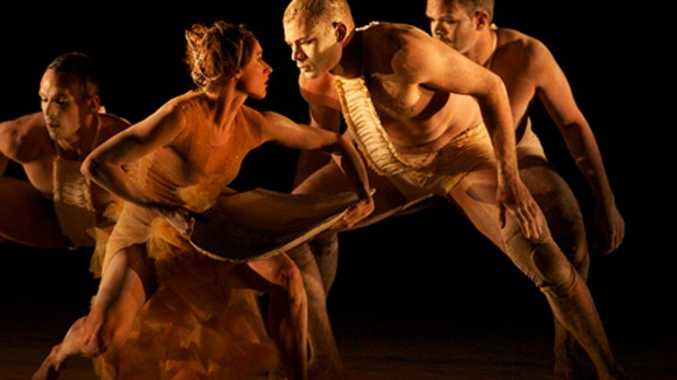 CENTRE STAGE: Travis performs front-and-centre with Sydney's Bangarra Dance Theatre company.