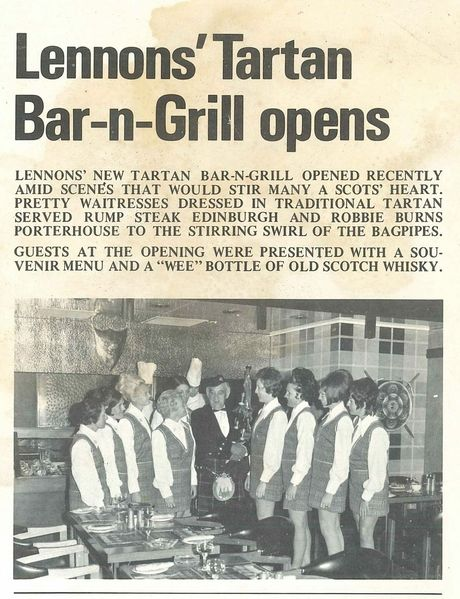 Marie Quinn (third from left) poses for the camera when Lennons Tartan Bar-n-Grill opened in Brisbane.
