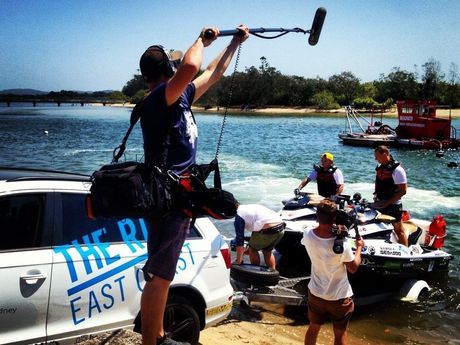 The Bondi Rescue guys' jet ski odyssey up the east coast is being filmed.