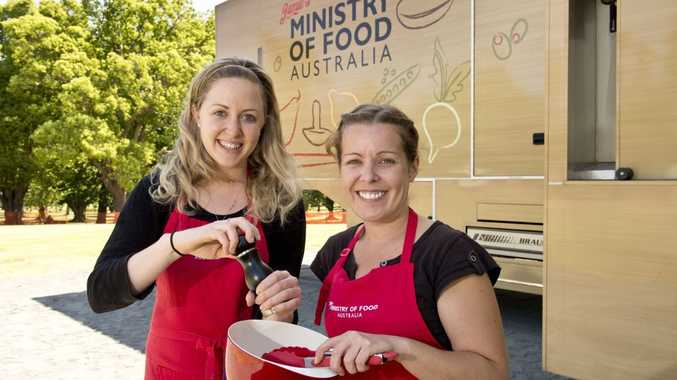 Nikki Kavanagh (left) and Sarah Campbell prepare for the start of classes at the Jamie's Ministry of Food mobile kitchen.