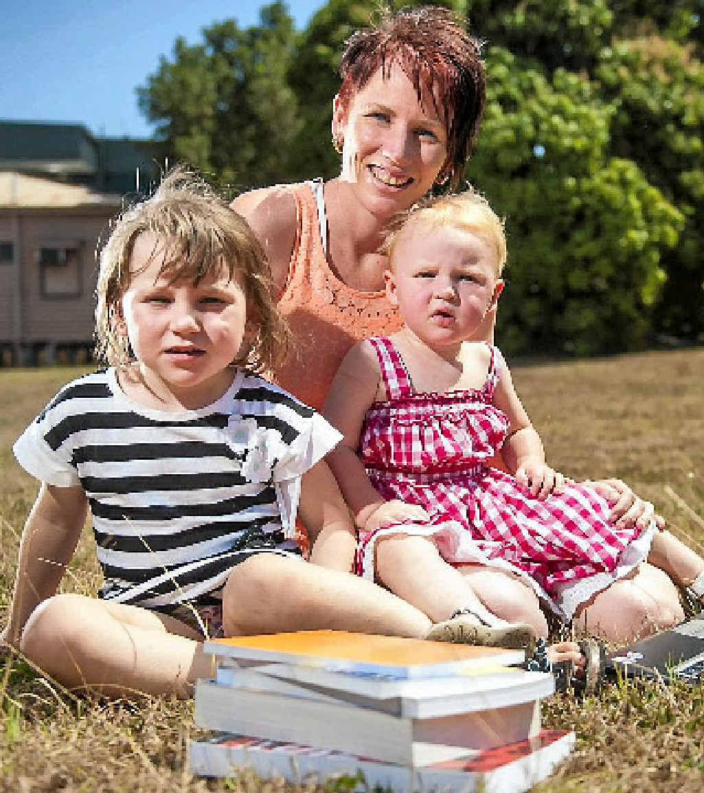 Kara Quinn with daughters Texas, 4, and Hudsyn, 2.