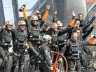Oracle Team USA celebrates winning the America's Cup after beating New Zealand in the deciding race yesterday.