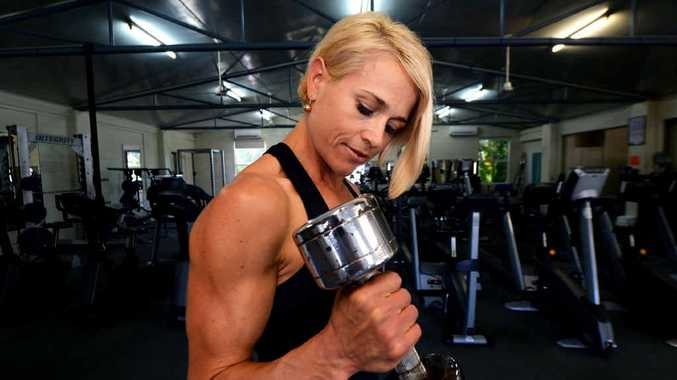 Personal Trainer Kate Cowan puts in the reps as she prepares to compete in a body building contest this weekend.