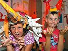 AMAZING MINDS: Samara Fogarty, 8, and Hunter James, 8, dressed as monsters for the launch of the Woodford Folk Festival monster-themed contest.