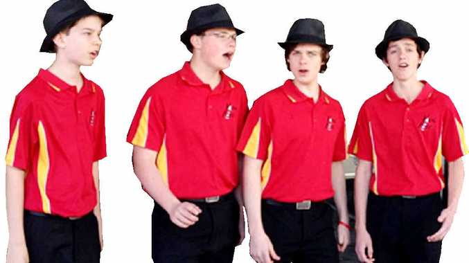 The Vocal Fire barbershop quartet (from left) Richard Paynter, Cameron Ryle, Vincent McGovern and James Ryle.