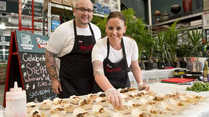Steph and Dan Mulheron serve up some barbecue treats at Bunnings.