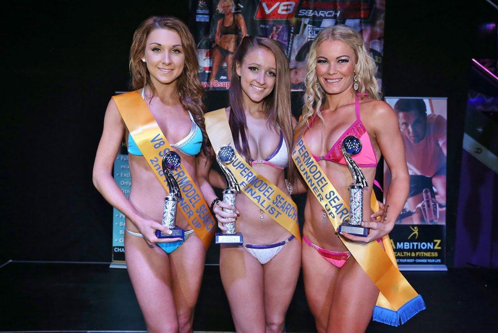 L-R Tahlea Kerk, Brianna Abdoo (winner) and Krystal Brezigar V8 Supermodel Search at the Zodiac Nightclub on September 28, 2013.