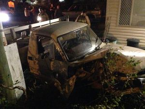 Emergency services were called to this crash on Saturday night.