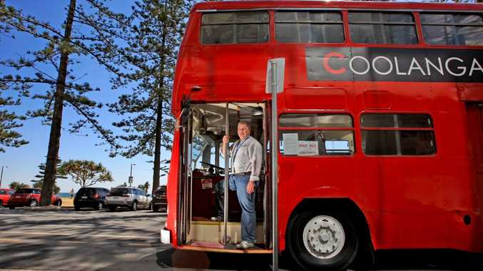 Warren Barber with Coolangatta Hotel's new bus.