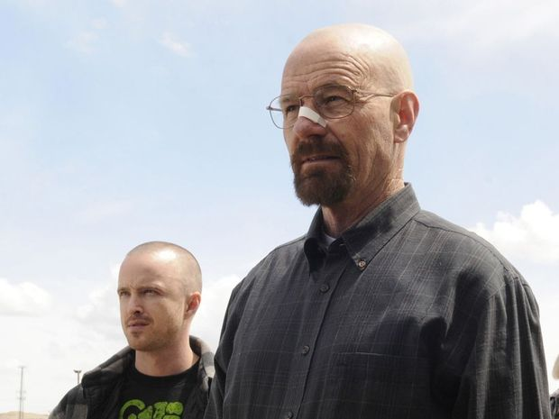 Aaron Paul, left, and Bryan Cranston in a scene from Breaking Bad.