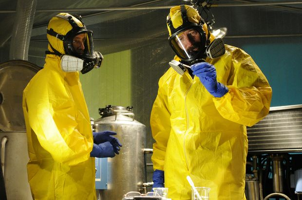 Aaron Paul and Bryan Cranston in Breaking Bad's trademark yellow hazmat suits.
