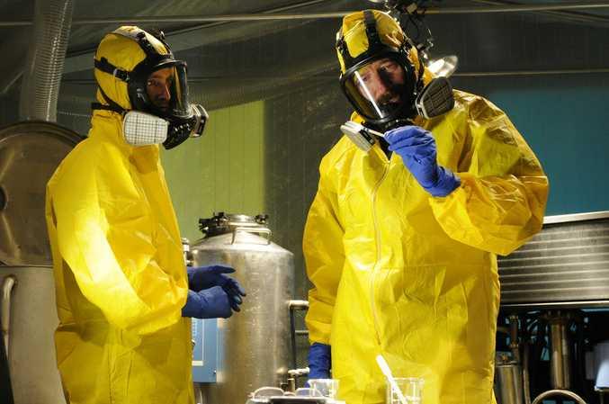 Aaron Paul and Bryan Cranston in Breaking Bad's trademark yellow hazmat suits.