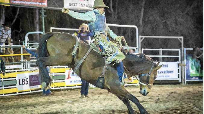 SADDLE BRONC WINNER: Kevin Purcell shows his style at the Calliope Rodeo.