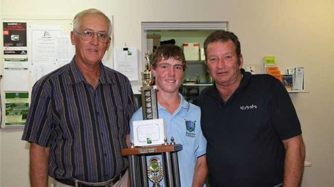 Casino's Riley Taylor was runner-up in the junior title at the Northern Rivers District Golf Association Championships. This picture from last year shows him receiving a junior champion trophy from Casino Golf Club president, Malcolm Olive, left, and Greg Martin.