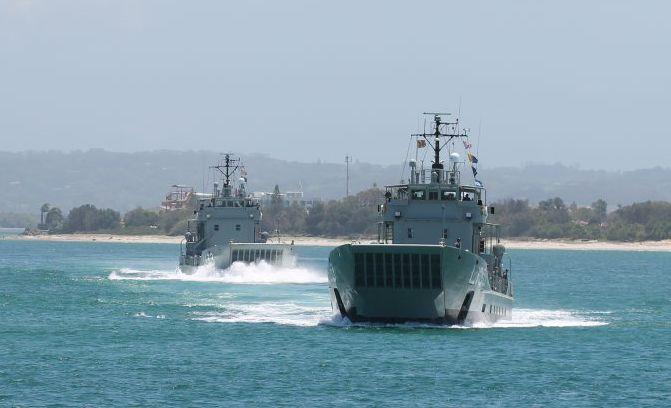 Royal Australian Navy landing craft on the Richmond River.