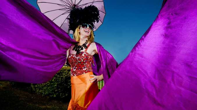 The 2013 Lismore Cup. Pictured Dee Dee Chenille, Lismore's first burlesque exchange student and fashions on the field enterent, from Phakatane, New Zealand. Photo Patrick Gorbunovs / The Northern Star
