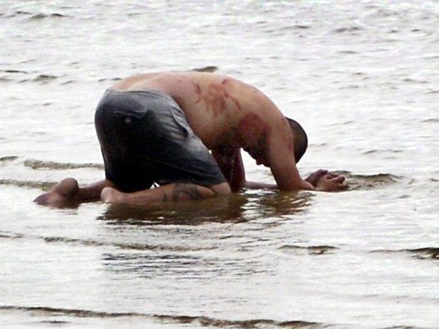 Hervey Bay man Eric Heuer on Urangan beach after attacking his flatmates.