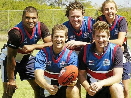 KEEN PLAYERS: Looking forward to the forthcoming AFL 9s competition are Aussie Rules lovers (back from left) Curtly Caldwell, James Newberry and Molly Kenwood and (front, from left) Kris Hendy and Trent Ryan.