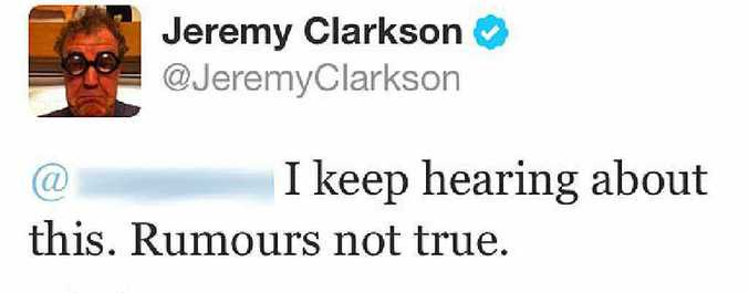 Jeremy Clarkson's tweet to a Daily News staffer.