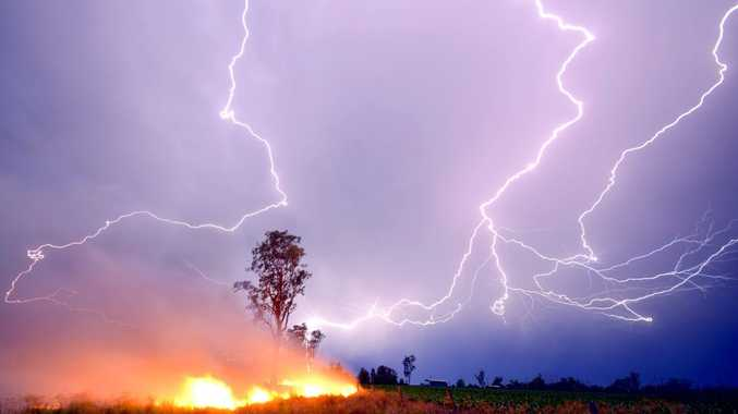Grant Rolph captured this image of lightning starting a fire at Cecil Plains.