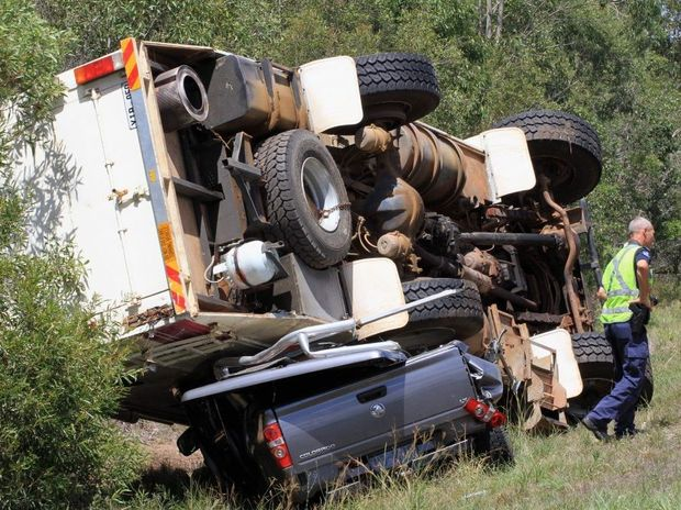 A mobile home crushed a ute in a crash on the Bruce Hwy near Torbanlea on Wednesday morning.