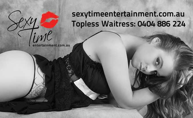 A promotional image of topless waitress Danielle from Sexy Time Entertainment.