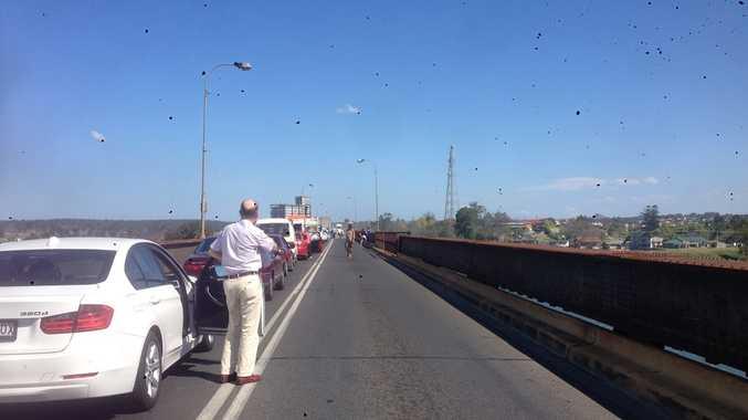 Car in flames on Grafton Bridge