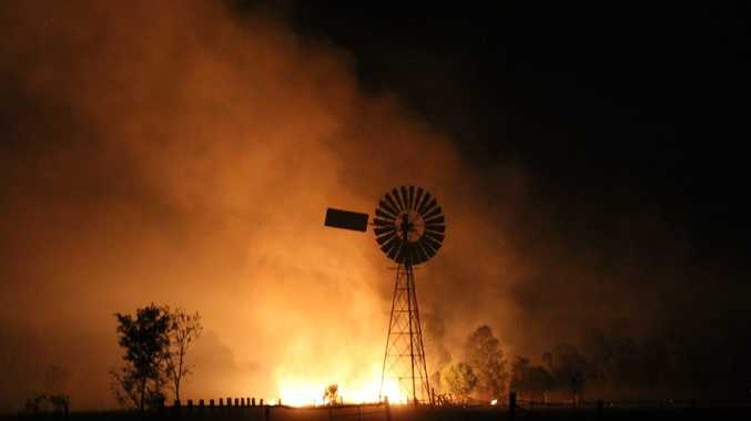 Fires rage on Shane Westman's property near Wandoan.