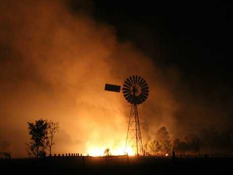 Fires rage on Shane Westman's property near Wandoan.