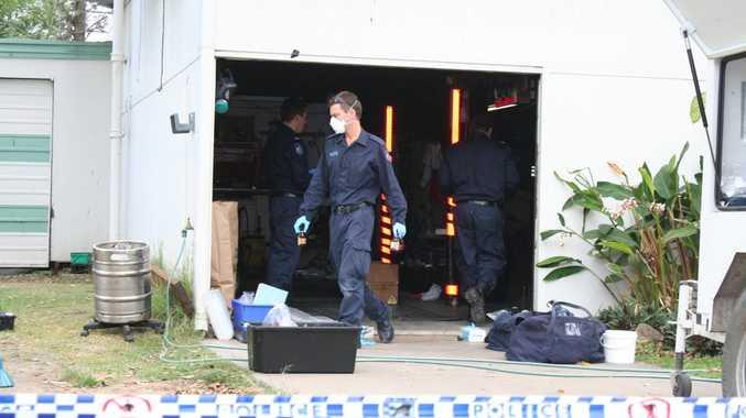 Police investigating a clandestine drug laboratory in High Street Photo last week. Rachael Conaghan / Morning Bulletin