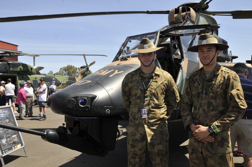 At the Swartz Barracks Landowners Day are pilots Matt Stubbs and Abdul Hamidon.