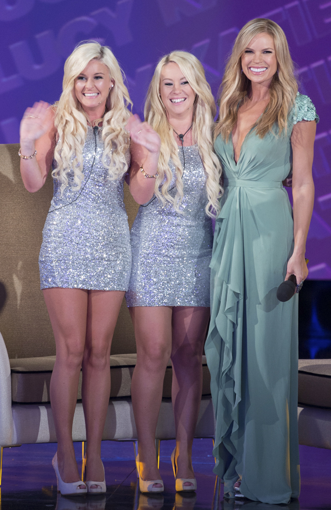 Evictees Katie and Lucy with host Sonia Kruger.