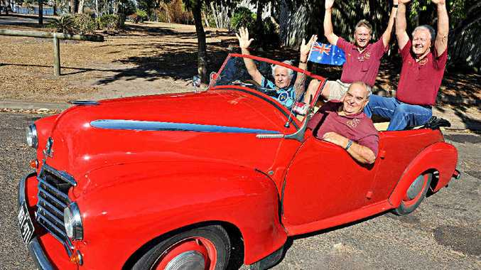 RALLYING AROUND: Bundaberg Vintage Vehicle club members John Canino, Phil Itzstein, Ian Jefferyes and Nev Evans are excited about the upcoming Cane Field Classic rally.
