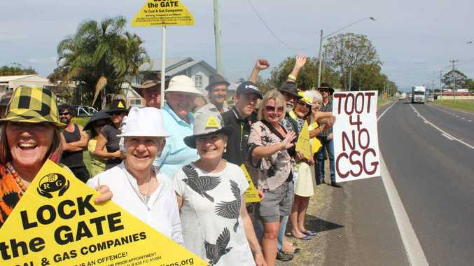 PROTESTING AGAIN: Knitting Nannas and others outside Metgasco's Casino office.