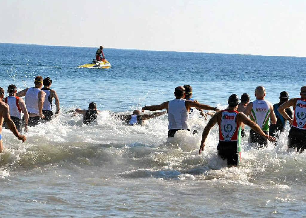 Competitors enjoy the surf swim leg at a previous Agnes Water Triathlon.